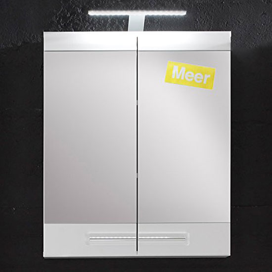Bora Mirror Cabinet In White With High Gloss Fronts And Lighting