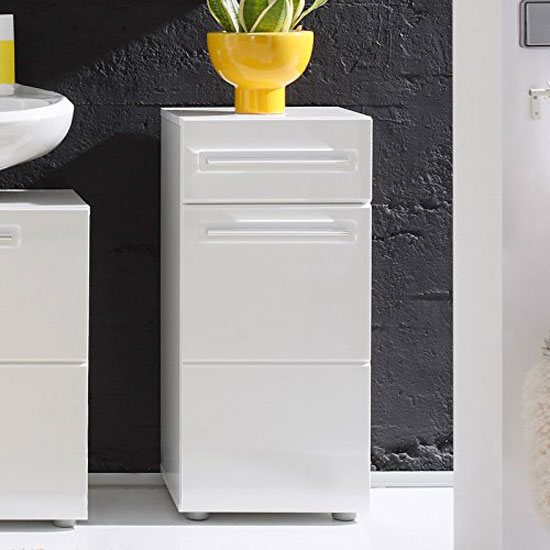 bora storage cabinet in white with high gloss fronts