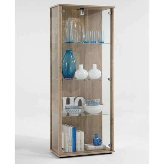 Harry Glass Display Cabinet With Light In Oak