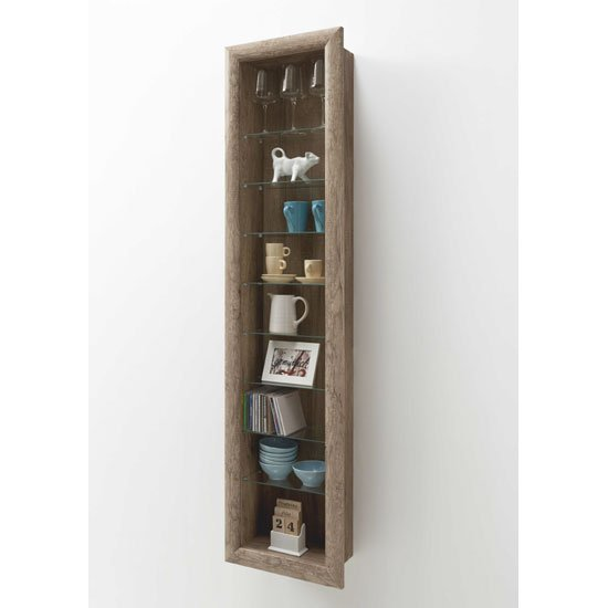 Bora9 Wall Mounted Display Stand In Wild Oak With 8 Glass Shelf