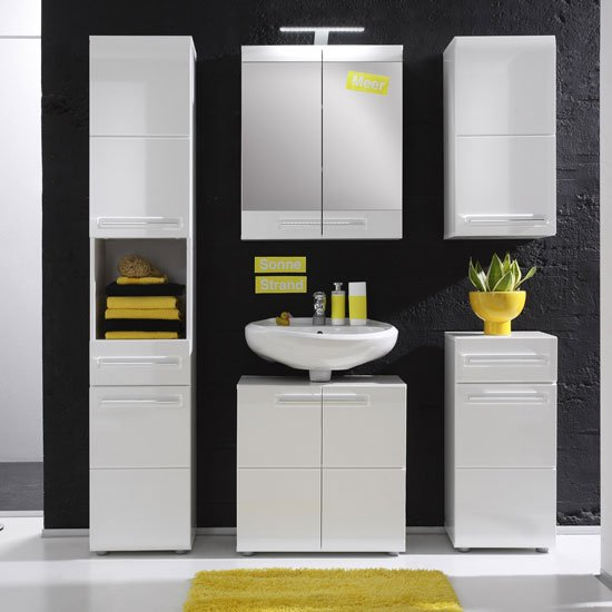 Bora Bathroom Set In White With High Gloss Fronts And Lighting