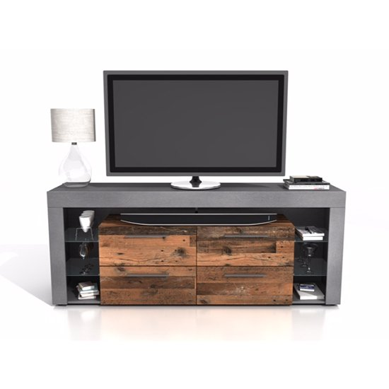 Borealis Hi-Fi Lowboard TV Unit In Matera And Old Style Dark