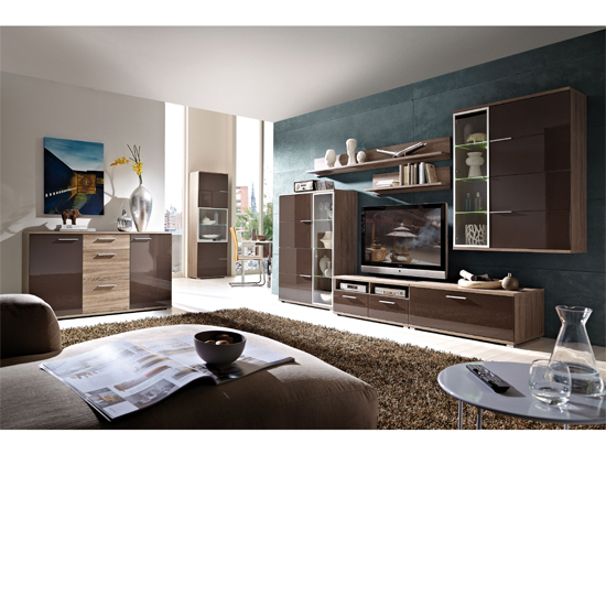 Read more about Boston dark oak and gloss brown living room collection