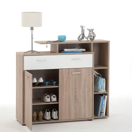 Bozen 6 Shoe Cabinet In Oak With 1 White Drawer And 2 Doors