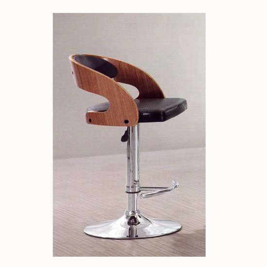Safari Bar Stool In Black And Gloss Wood With Chrome Base