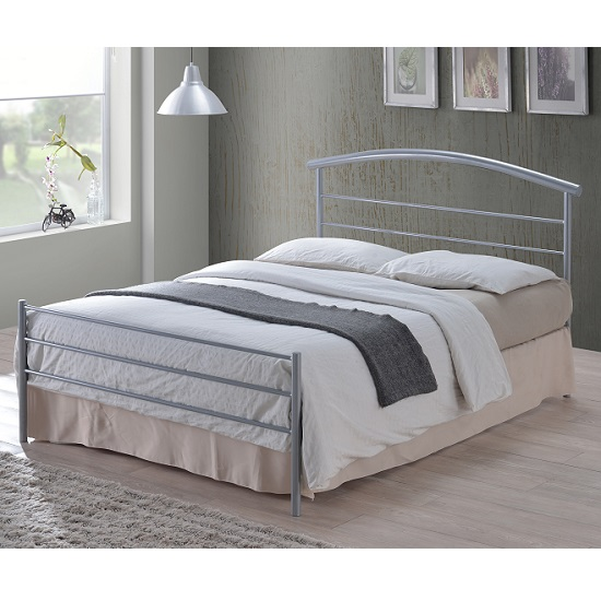 Brennington Contemporary Bed In Silver Metal