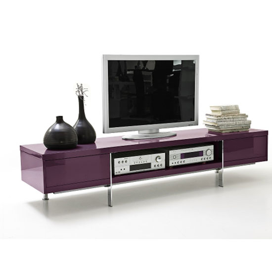 Brisbane LCD TV Stand In Violet High Gloss Finish With 2 Drawer