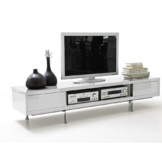 Brisbane LCD TV Stand in White High Gloss Finish With 2 Drawer