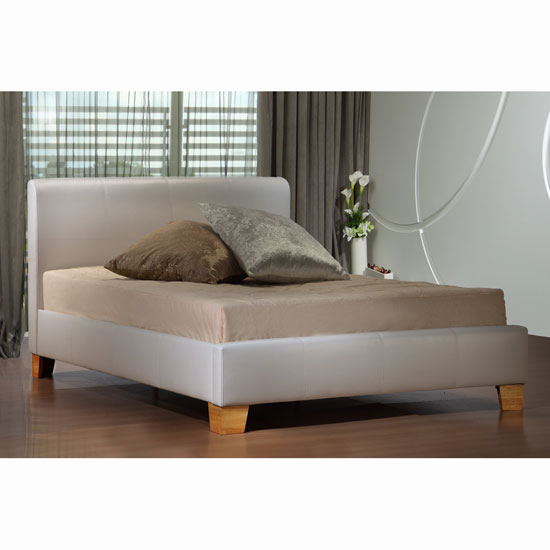Brooklyn White Bed in Faux Leather
