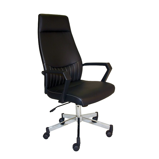 Sheldon High Back Office Chair In Black PU With Wheels