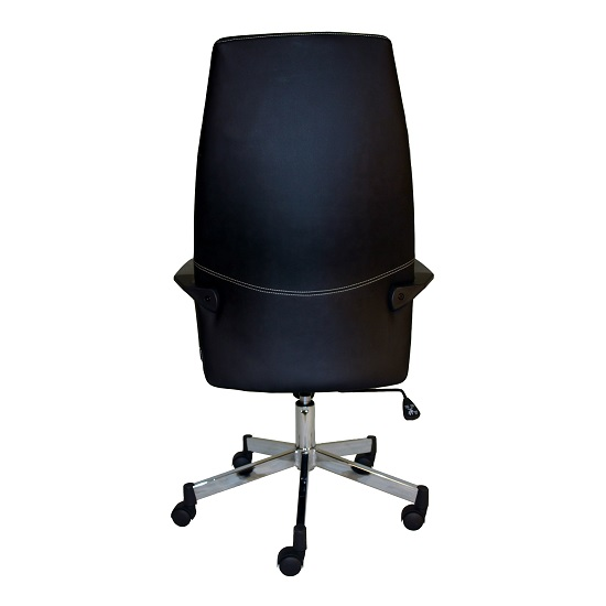 Sheldon High Back Office Chair In Black PU With Wheels_2