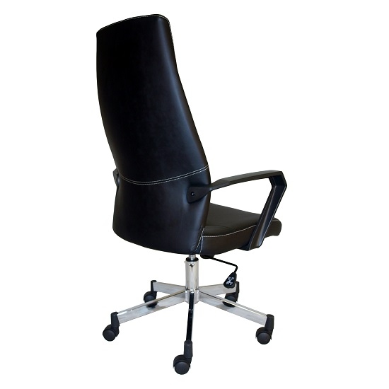 Sheldon High Back Office Chair In Black PU With Wheels_3