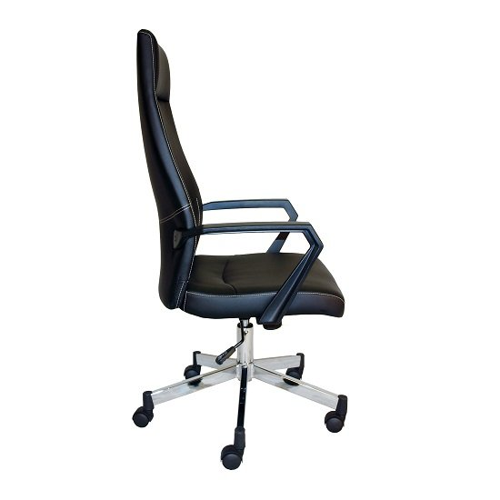 Sheldon High Back Office Chair In Black PU With Wheels_4
