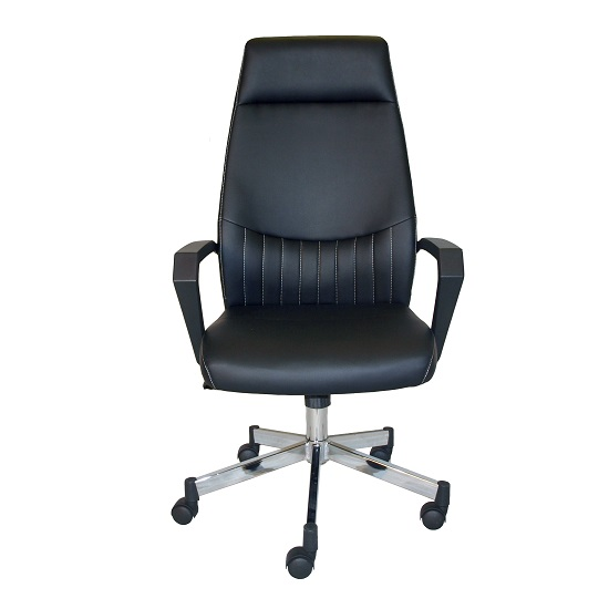 Sheldon High Back Office Chair In Black PU With Wheels_5