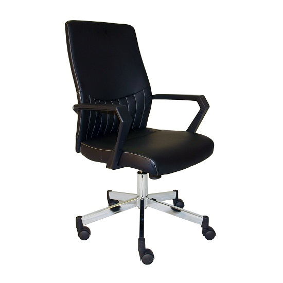 Sheldon Low Back Office Chair In Black Faux Leather With Wheels