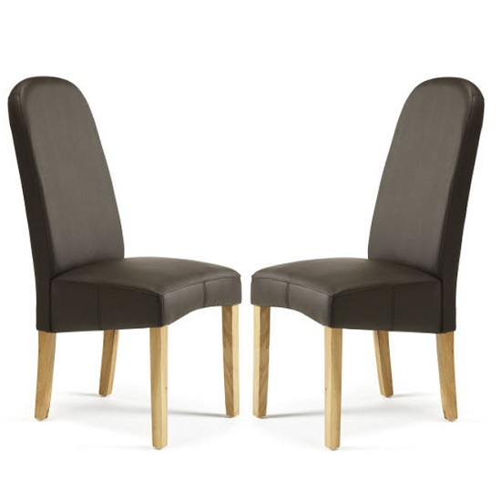 Jennifer Dining Chair In Brown Faux Leather in A Pair