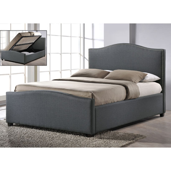 Brunswick Grey Fabric King Size Ottoman Storage Bed