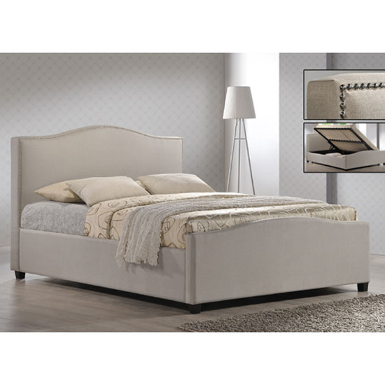 Brunswick Sand Fabric King Size Ottoman Storage Bed