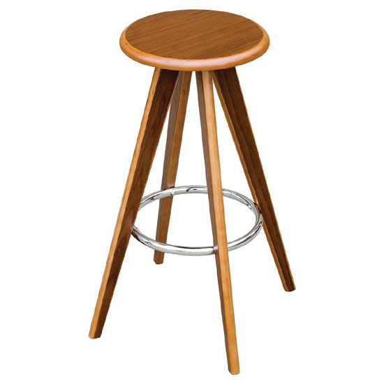 Bramby Bar Stool Round In Walnut Veneer With Chrome Foot Rest