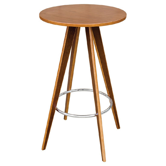 Bramby Bar Table Round In Walnut Veneer With Chrome Foot Rest