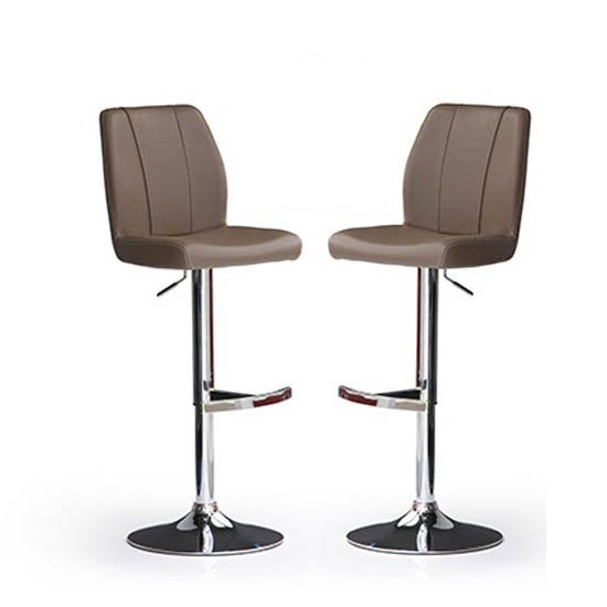 Buy 2 Naomi Cappuccino Faux Leather Bar Stool Just For £189.95