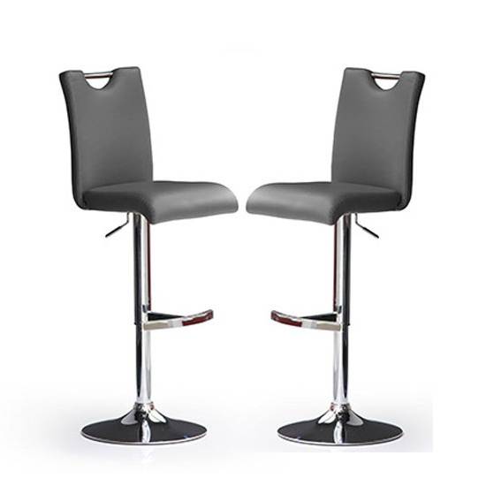 Bardo Bar Stools In Grey Faux Leather in A Pair  sc 1 st  Furniture in Fashion & Bardo Bar Stools In Grey Faux Leather in A Pair 23110 islam-shia.org