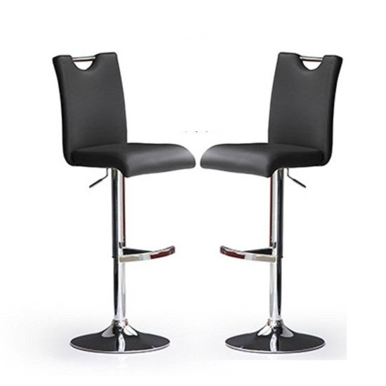 Bardo Bar Stools In Black Faux Leather in A Pair