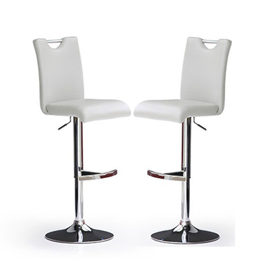 Bardo Bar Stools In White Faux Leather in A Pair