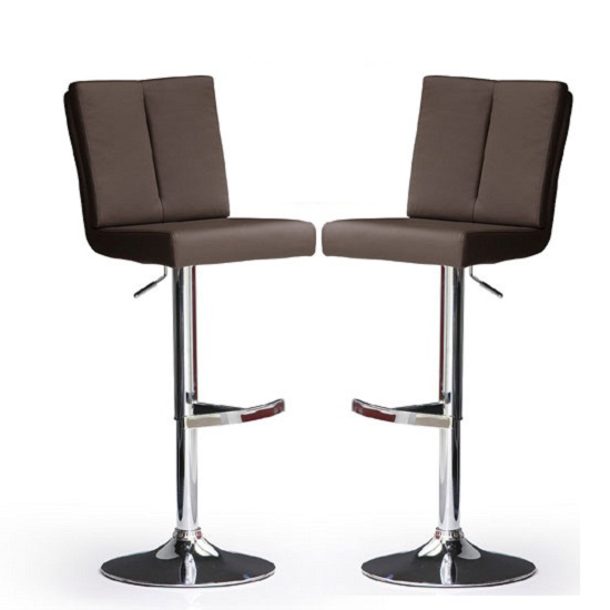 Bruni Bar Stools In Brown Faux Leather In A Pair 23130