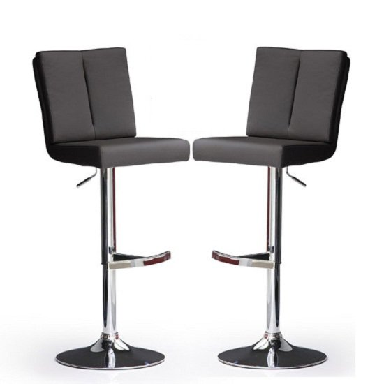 Bruni Bar Stools In Black Faux Leather in A Pair