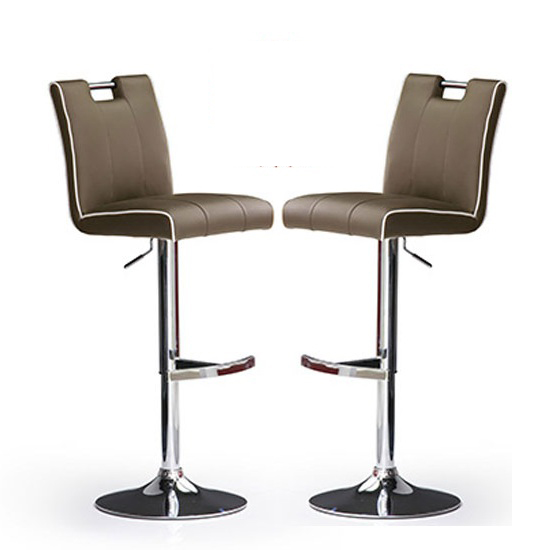 Casta Bar Stools In Cappuccino Faux Leather in A Pair