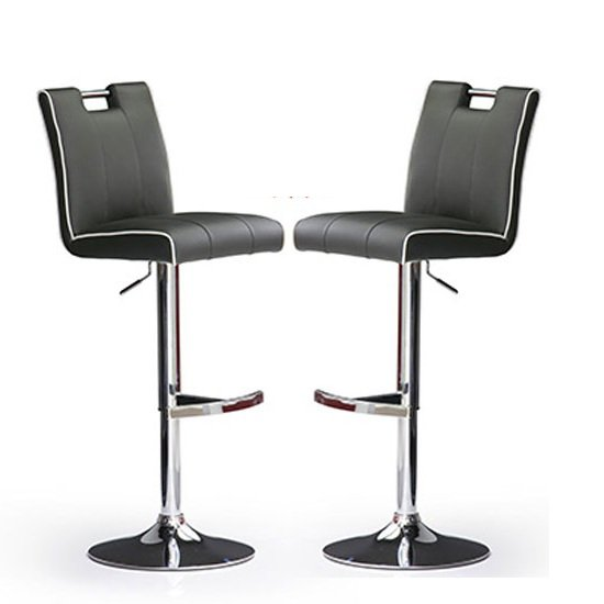 Casta Bar Stools In Grey Faux Leather in A Pair