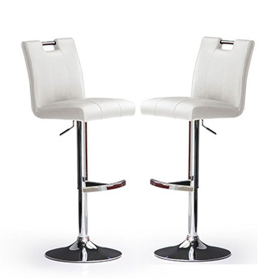 Casta Bar Stools In White Faux Leather in A Pair