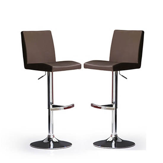 Lopes Bar Stools In Brown Faux Leather in A Pair