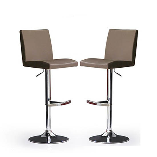 Read more about Lopes bar stools in cappuccino faux leather in a pair