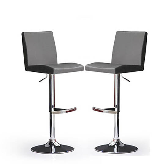 Lopes Bar Stools In Grey Faux Leather in A Pair