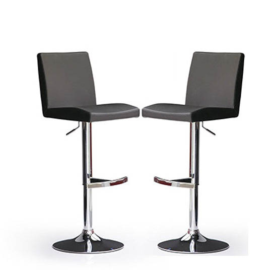 Lopes Bar Stools In Black Faux Leather in A Pair