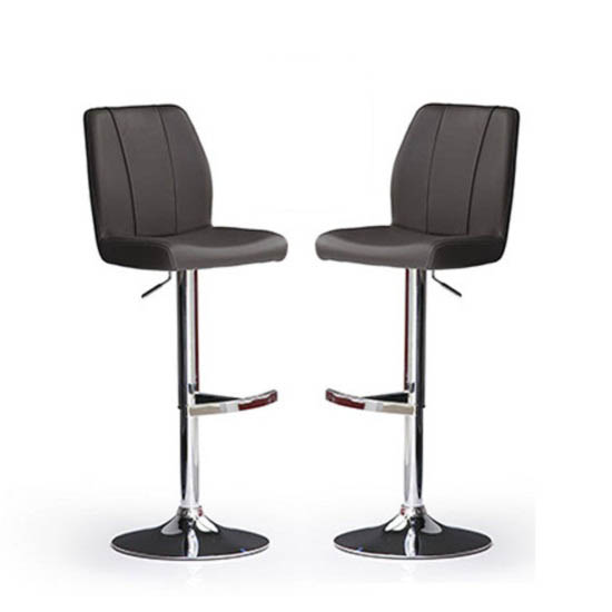 Naomi Bar Stools In Black Faux Leather in A Pair