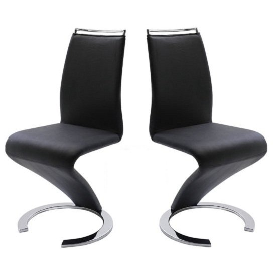 Summer z shape dining chair in black faux leather in a pair for Z shaped dining room chairs