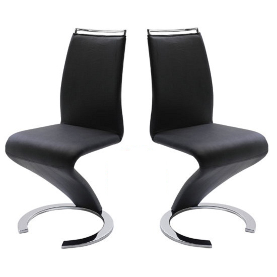 Summer Z Shape Dining Chair In Black Faux Leather in A Pair