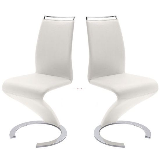Summer Z Shape Dining Chair In White Faux Leather in A Pair