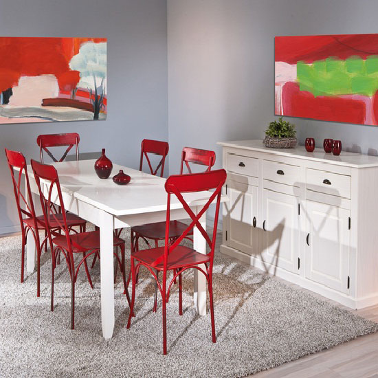 Cassala1 Extendable Dining Table With 6 Bistro Chair In Red
