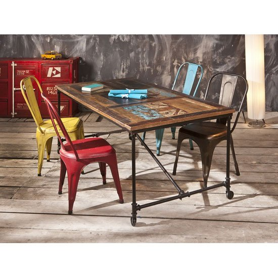 Coffee Rectangular Wooden Dining Table With 6 Aix Metal Chairs