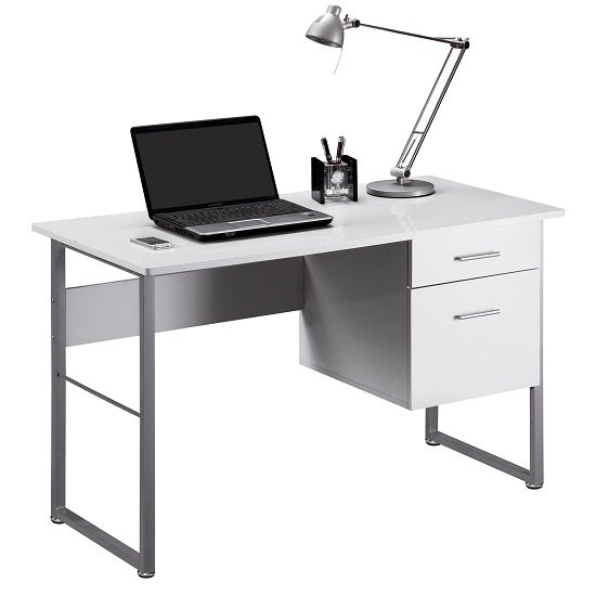 kassel computer desk rectangular in white gloss and grey. Black Bedroom Furniture Sets. Home Design Ideas