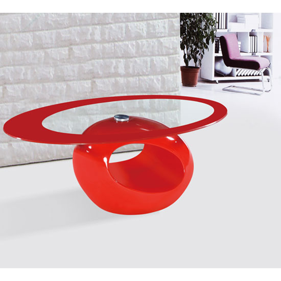 Cairo Oval Red Border Glass Coffee Table With Red Gloss Base