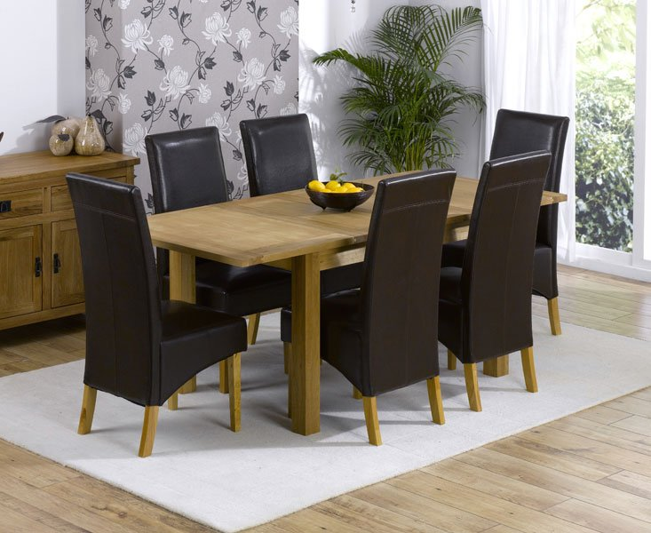 Cipriano Extending Oak Dining Table And 6 Leather Chairs