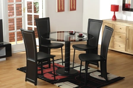 Romeo Glass Dining Set With 4 Dining Chairs