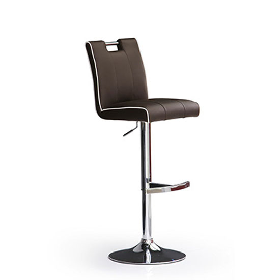 Casta Brown Bar Stool In Faux Leather With Round Chrome Base