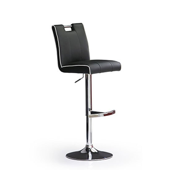 Casta Black Bar Stool In Faux Leather With Round Chrome Base
