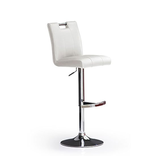 Casta White Bar Stool In Faux Leather With Round Chrome Base